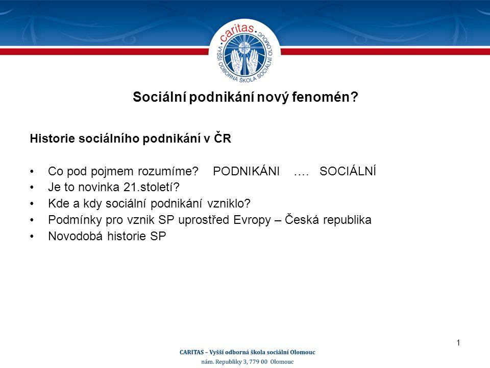 Historie sociálního podnikání v ČR Co pod pojmem rozumíme.