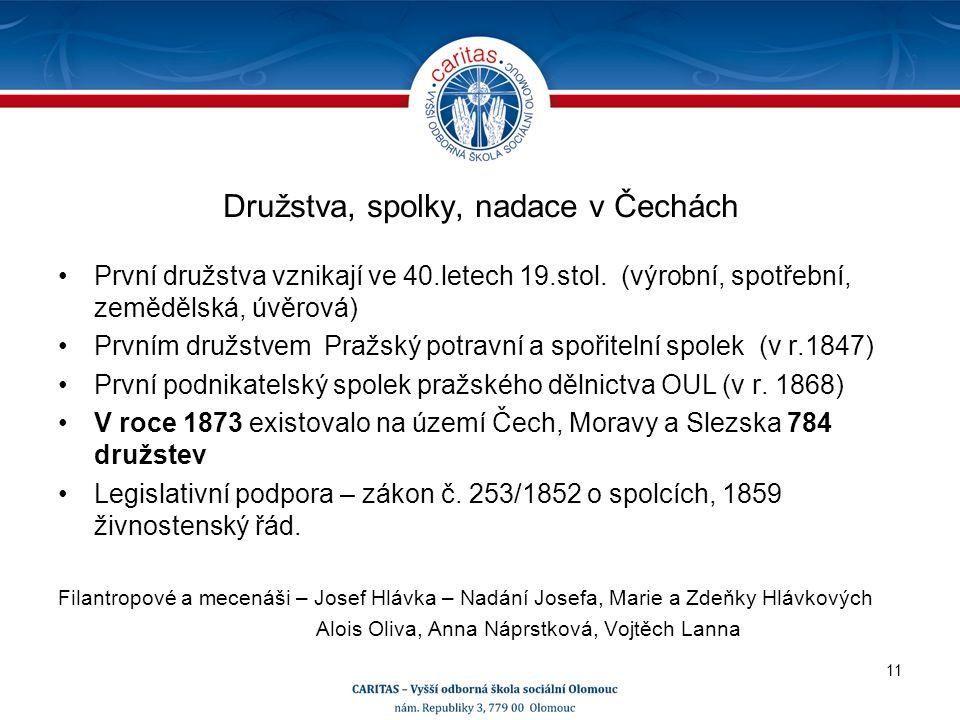 Družstva, spolky, nadace v Čechách První družstva vznikají ve 40.letech 19.stol.