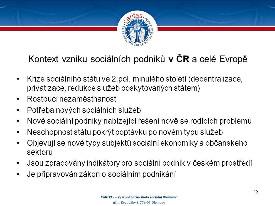 Kontext vzniku sociálních podniků v ČR a celé Evropě Krize sociálního státu ve 2.pol.
