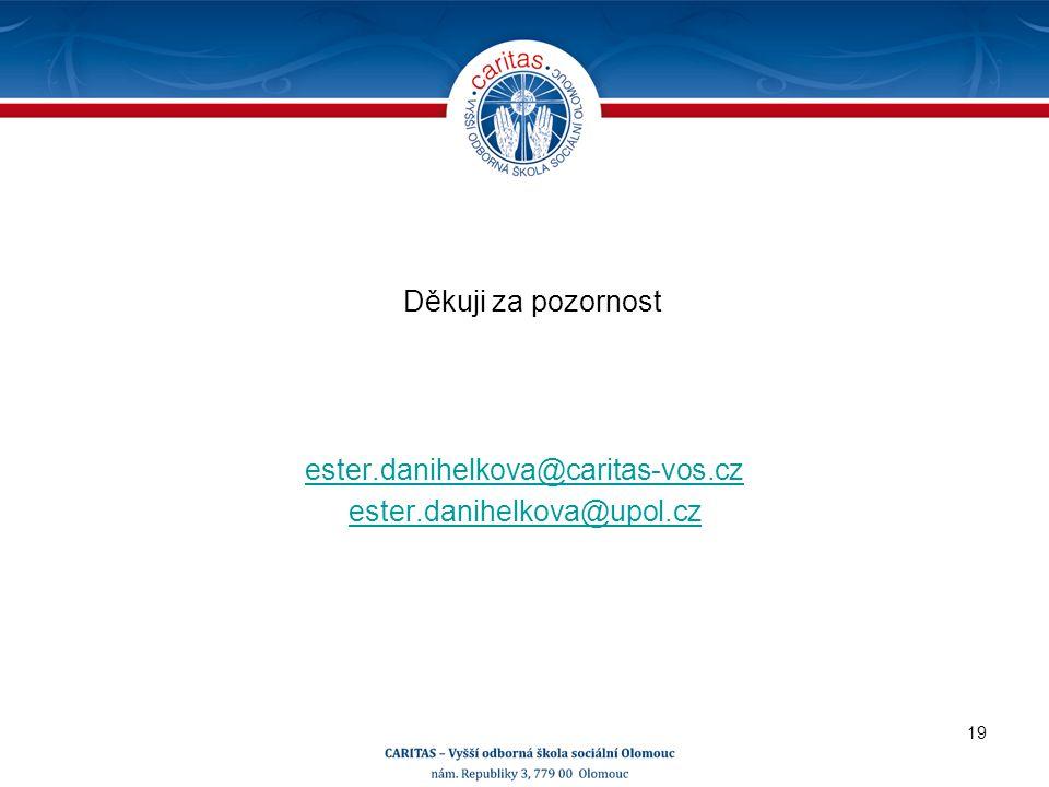 Děkuji za pozornost ester.danihelkova@caritas-vos.cz ester.danihelkova@upol.cz 19