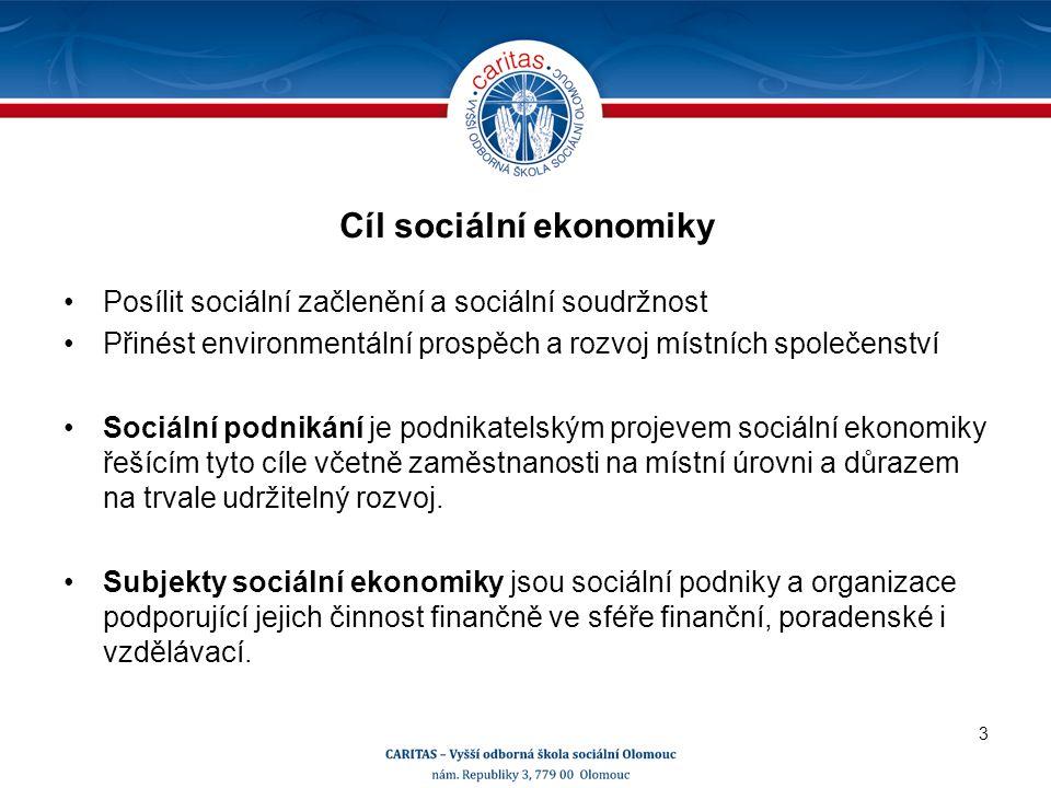 Cíl sociální ekonomiky Posílit sociální začlenění a sociální soudržnost Přinést environmentální prospěch a rozvoj místních společenství Sociální podnikání je podnikatelským projevem sociální ekonomiky řešícím tyto cíle včetně zaměstnanosti na místní úrovni a důrazem na trvale udržitelný rozvoj.