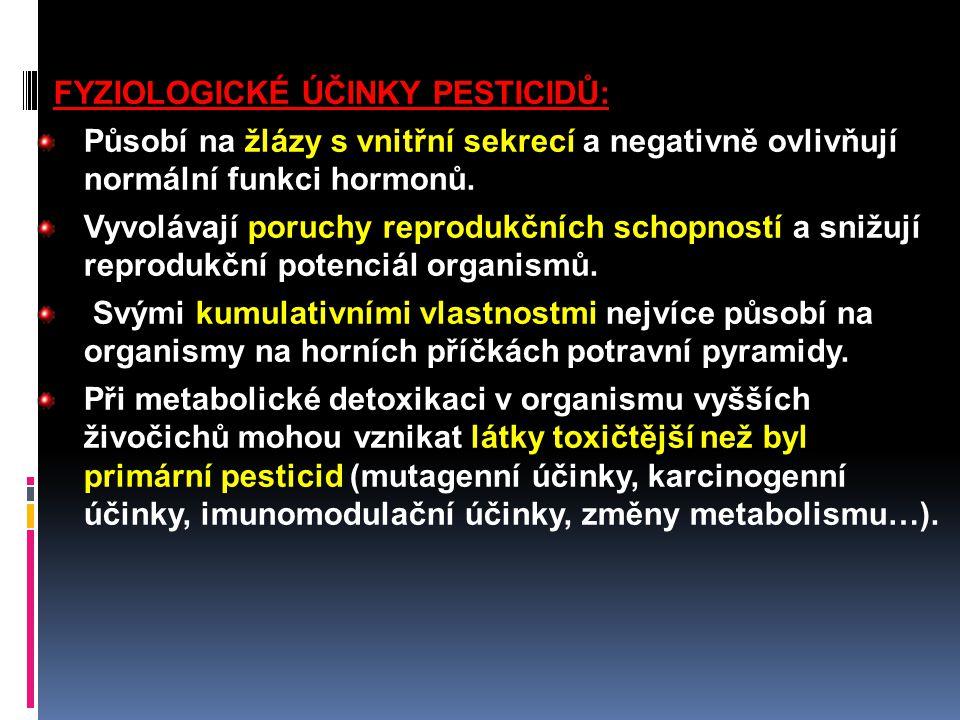 FYZIOLOGICKÉ ÚČINKY PESTICIDŮ: Působí na žlázy s vnitřní sekrecí a negativně ovlivňují normální funkci hormonů. Vyvolávají poruchy reprodukčních schop