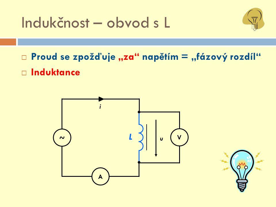 """Indukčnost – obvod s L  Proud se zpožďuje """"za"""" napětím = """"fázový rozdíl""""  Induktance V A L u i ~"""