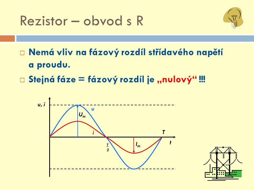 """Rezistor – obvod s R  Nemá vliv na fázový rozdíl střídavého napětí a proudu.  Stejná fáze = fázový rozdíl je """"nulový"""" !!! T T2T2 u i ImIm u, i t UmU"""