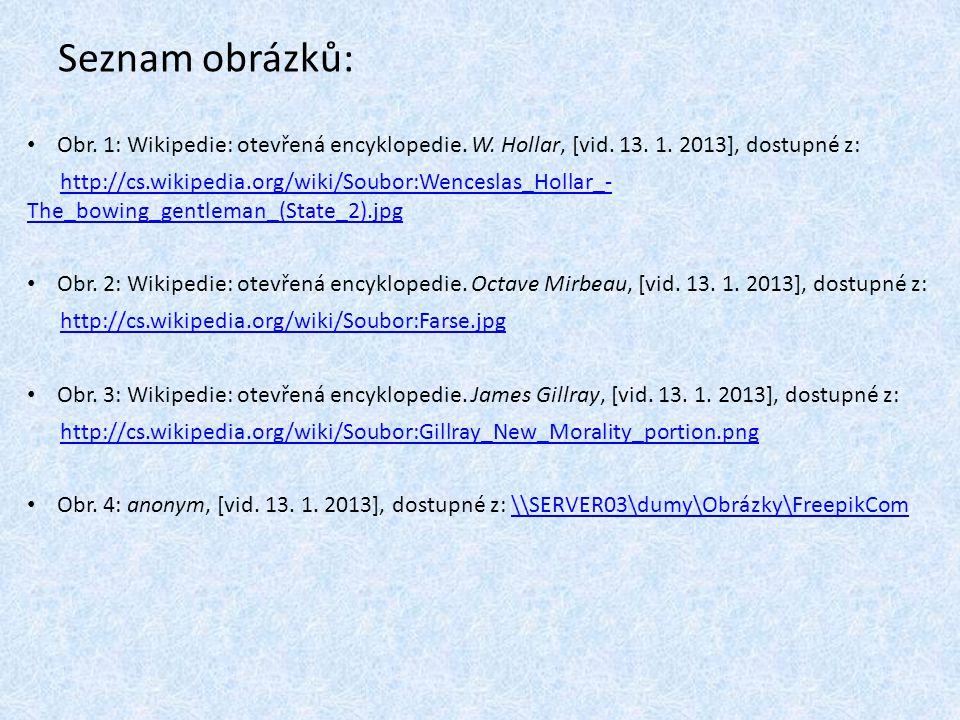 Seznam obrázků: Obr. 1: Wikipedie: otevřená encyklopedie. W. Hollar, [vid. 13. 1. 2013], dostupné z: http://cs.wikipedia.org/wiki/Soubor:Wenceslas_Hol