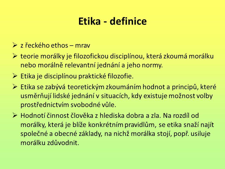 Etika - definice  z řeckého ethos – mrav  teorie morálky je filozofickou disciplínou, která zkoumá morálku nebo morálně relevantní jednání a jeho no