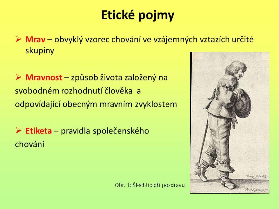 Etické pojmy  Mrav – obvyklý vzorec chování ve vzájemných vztazích určité skupiny  Mravnost – způsob života založený na svobodném rozhodnutí člověka