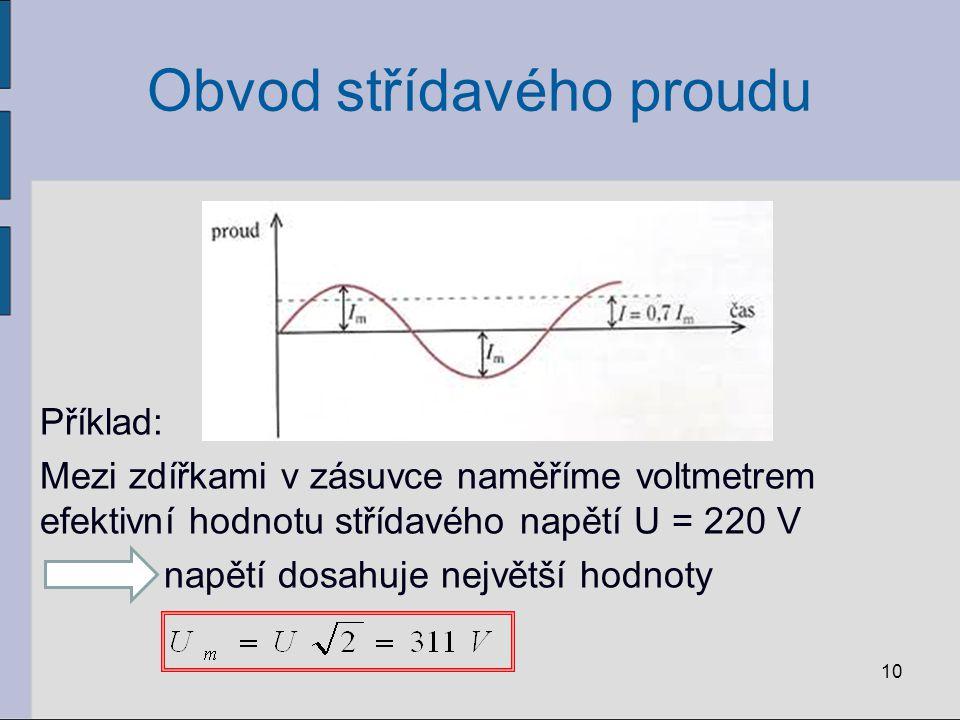 Obvod střídavého proudu Příklad: Mezi zdířkami v zásuvce naměříme voltmetrem efektivní hodnotu střídavého napětí U = 220 V napětí dosahuje největší ho