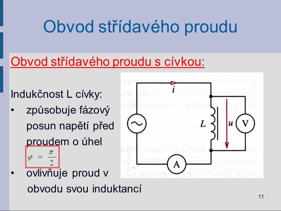 Obvod střídavého proudu Obvod střídavého proudu s cívkou: Indukčnost L cívky: způsobuje fázový posun napětí před proudem o úhel ovlivňuje proud v obvo