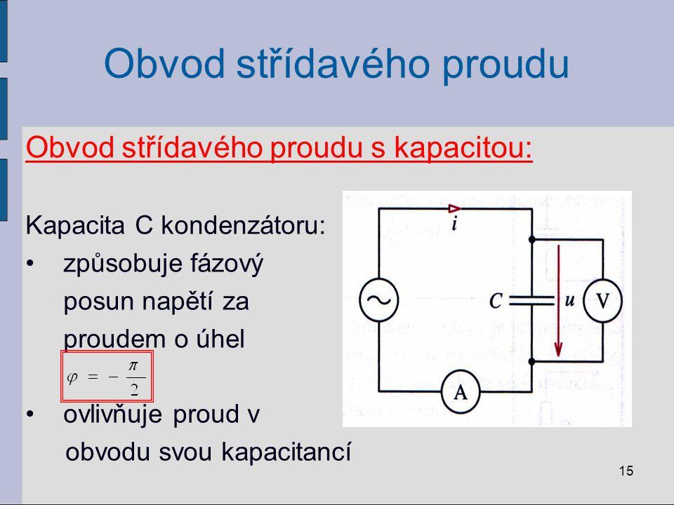 Obvod střídavého proudu Obvod střídavého proudu s kapacitou: Kapacita C kondenzátoru: způsobuje fázový posun napětí za proudem o úhel ovlivňuje proud