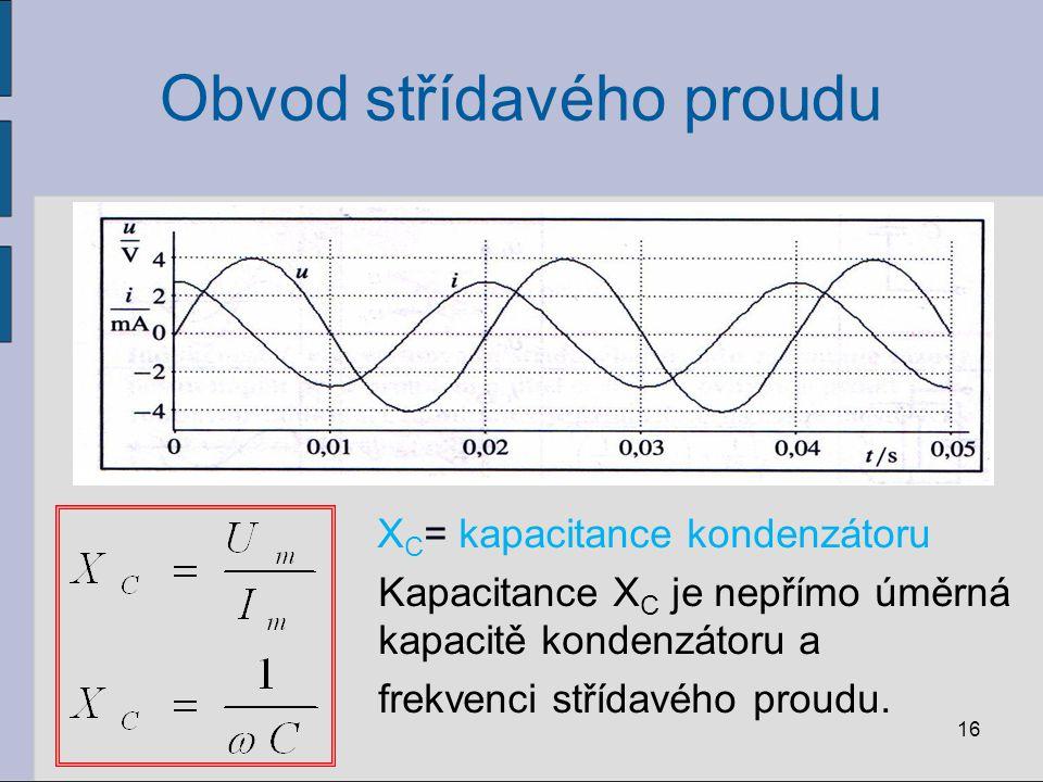 Obvod střídavého proudu X C = kapacitance kondenzátoru Kapacitance X C je nepřímo úměrná kapacitě kondenzátoru a frekvenci střídavého proudu. 16