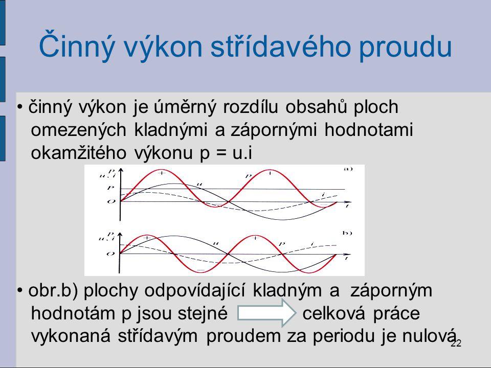 Činný výkon střídavého proudu činný výkon je úměrný rozdílu obsahů ploch omezených kladnými a zápornými hodnotami okamžitého výkonu p = u.i obr.b) plo