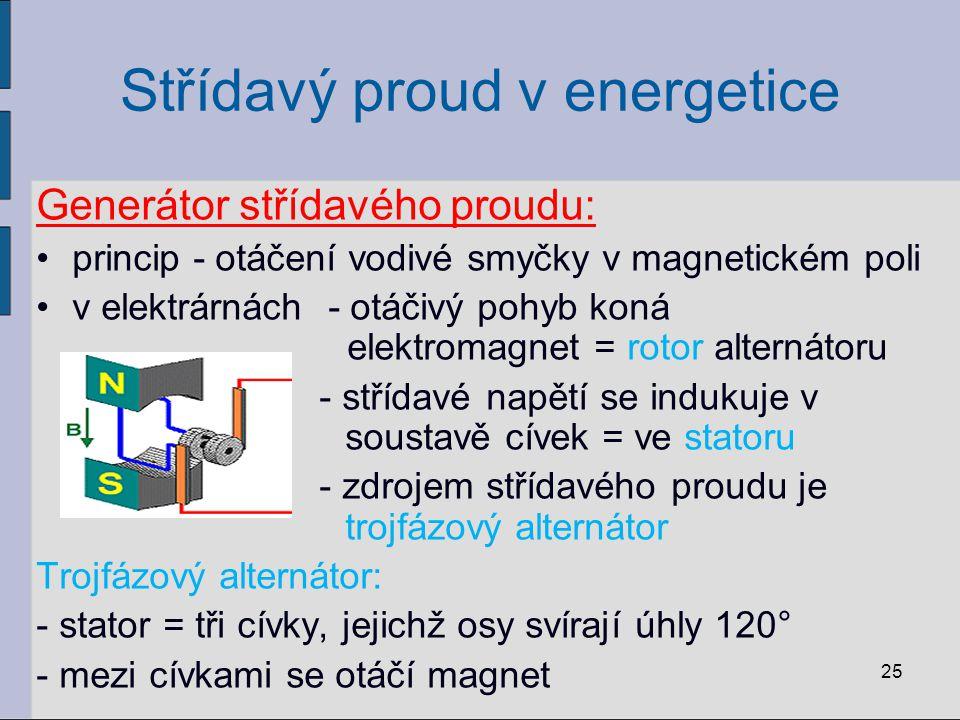 Střídavý proud v energetice Generátor střídavého proudu: princip - otáčení vodivé smyčky v magnetickém poli v elektrárnách - otáčivý pohyb koná elektr