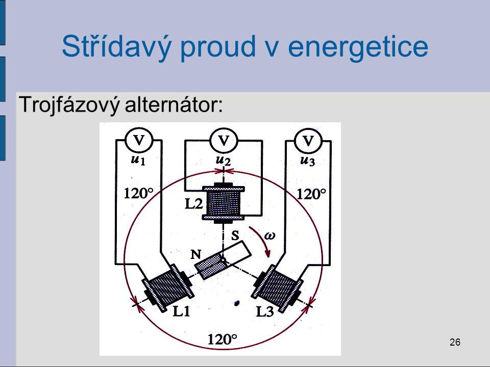 Střídavý proud v energetice V cívkách se indukují střídavá napětí: mají stejnou amplitudu U m jsou navzájem posunuta o 1/3 periody Platí: 27
