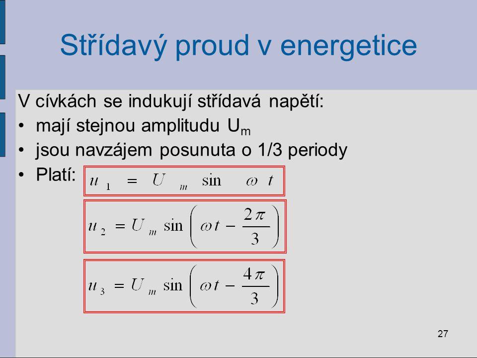 Střídavý proud v energetice Časový a fázorový diagram indukovaných napětí: 28