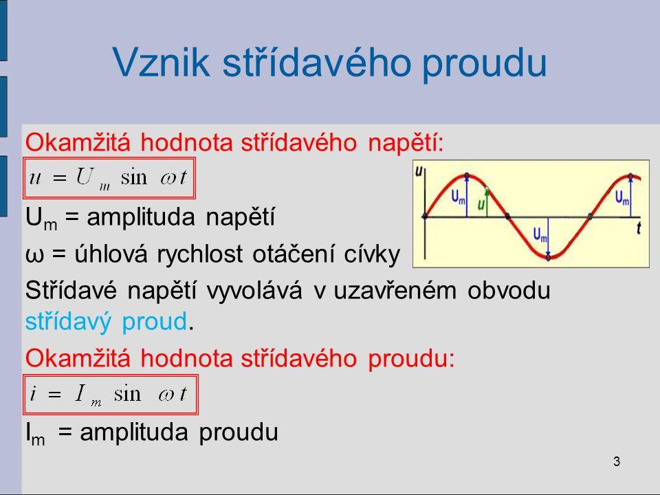 Vznik střídavého proudu Okamžitá hodnota střídavého napětí: U m = amplituda napětí ω = úhlová rychlost otáčení cívky Střídavé napětí vyvolává v uzavře