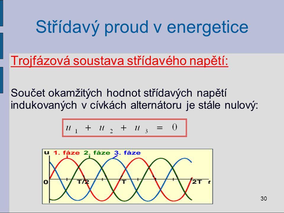 Střídavý proud v energetice Spojení cívek statoru alternátoru: O = uzel L 1 L 2 L 3 = fázové vodiče N = nulovací vodič mezi fázovými vodiči a nulovacím vodičem = fázová napětí u 1, u 2, u 3 mezi libovolnými fázovými vodiči = sdružené napětí u 12, u 13, u 23 Platí: 31