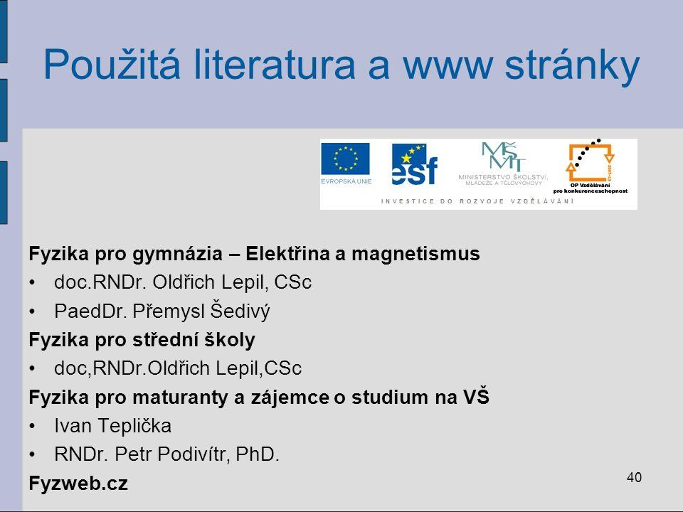 40 Použitá literatura a www stránky Fyzika pro gymnázia – Elektřina a magnetismus doc.RNDr. Oldřich Lepil, CSc PaedDr. Přemysl Šedivý Fyzika pro střed