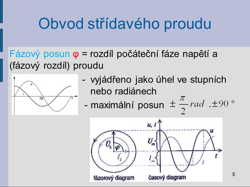 Obvod střídavého proudu Fázový posun φ = rozdíl počáteční fáze napětí a (fázový rozdíl) proudu - vyjádřeno jako úhel ve stupních nebo radiánech -maxim