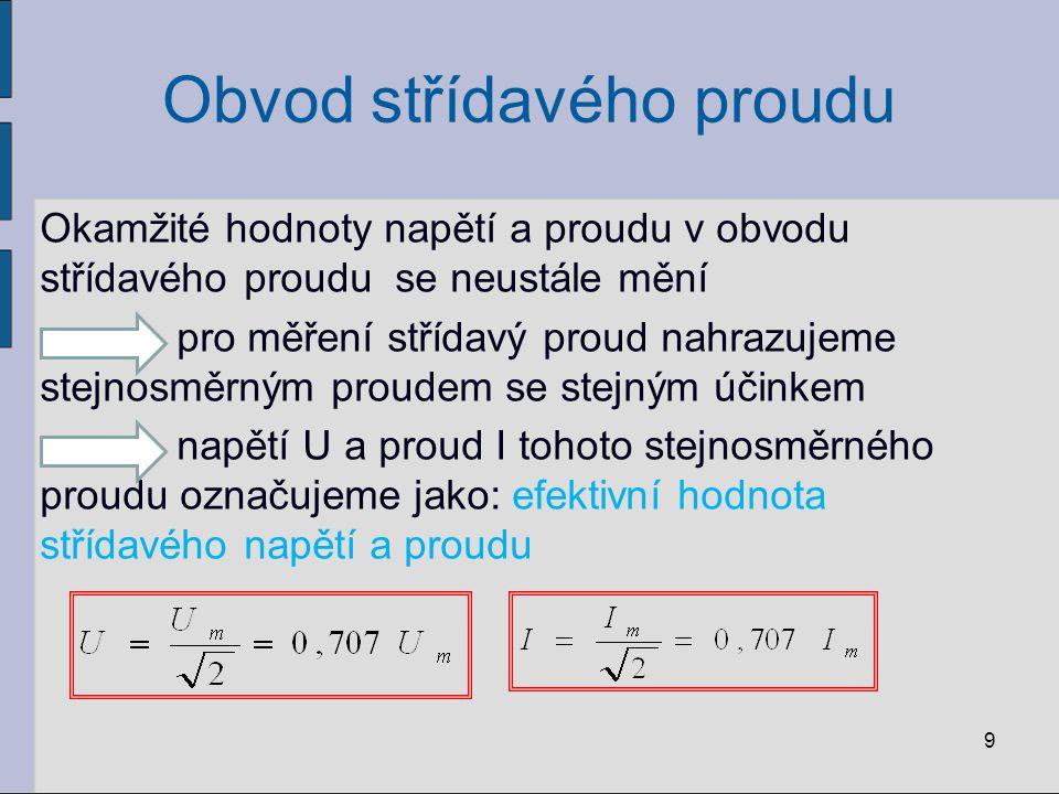 Obvod střídavého proudu Příklad: Mezi zdířkami v zásuvce naměříme voltmetrem efektivní hodnotu střídavého napětí U = 220 V napětí dosahuje největší hodnoty 10