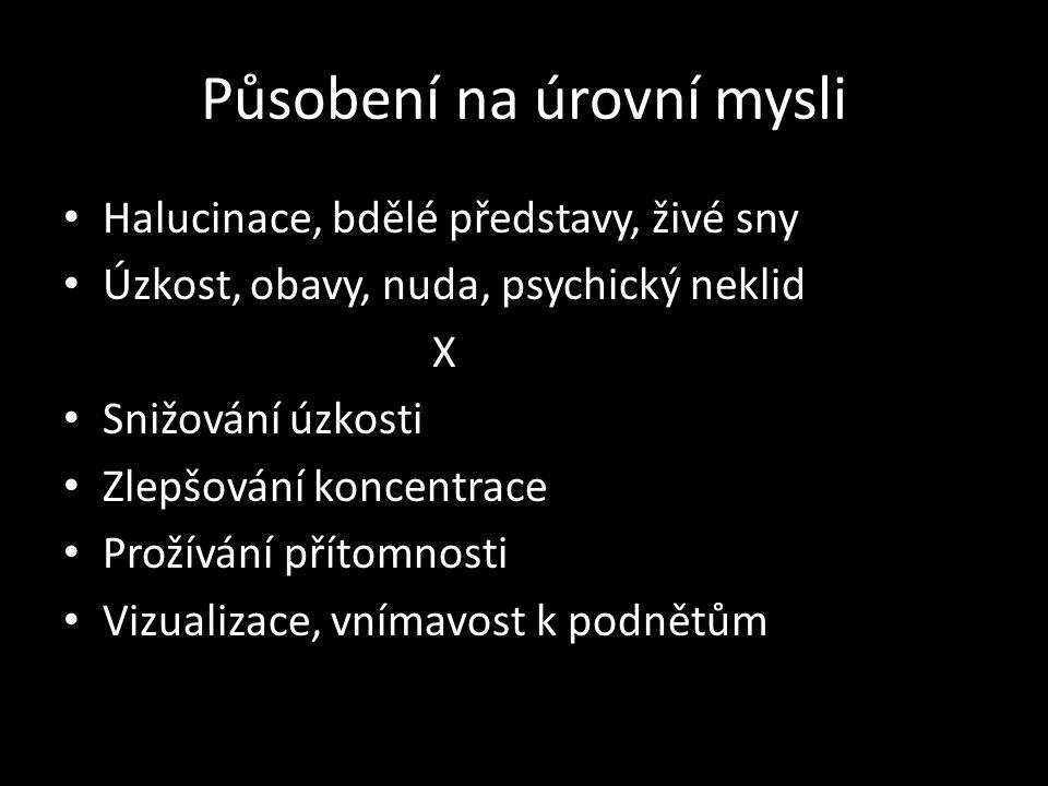 Působení na úrovní mysli Halucinace, bdělé představy, živé sny Úzkost, obavy, nuda, psychický neklid X Snižování úzkosti Zlepšování koncentrace Prožív