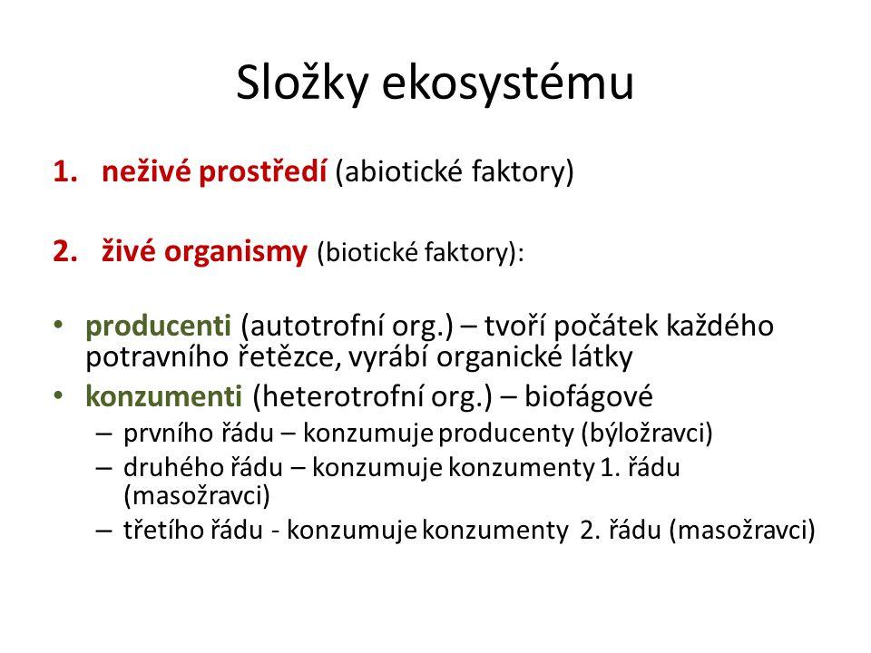 Složky ekosystému 1.neživé prostředí (abiotické faktory) 2.živé organismy (biotické faktory): producenti (autotrofní org.) – tvoří počátek každého potravního řetězce, vyrábí organické látky konzumenti (heterotrofní org.) – biofágové – prvního řádu – konzumuje producenty (býložravci) – druhého řádu – konzumuje konzumenty 1.