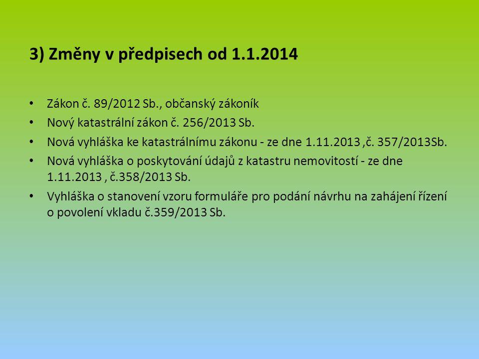 3) Změny v předpisech od 1.1.2014 Zákon č. 89/2012 Sb., občanský zákoník Nový katastrální zákon č. 256/2013 Sb. Nová vyhláška ke katastrálnímu zákonu