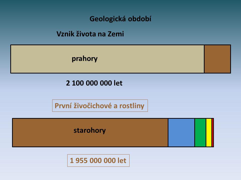 Geologická období – přiřaď správně údaje.