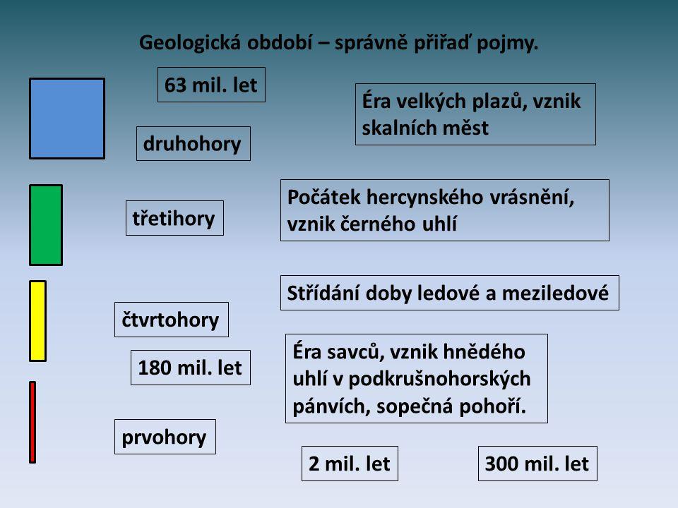 Geologická období prvohory druhohory třetihory čtvrtohory Počátek hercynského vrásnění, vznik černého uhlí, 300 milionů let Éra velkých plazů, vznik skalních měst, 180 milionů let Éra savců, vznik hnědého uhlí v podkrušnohorských pánvích, sopečná pohoří, 63 milionů let Střídání doby ledové a meziledové, 2 miliony let