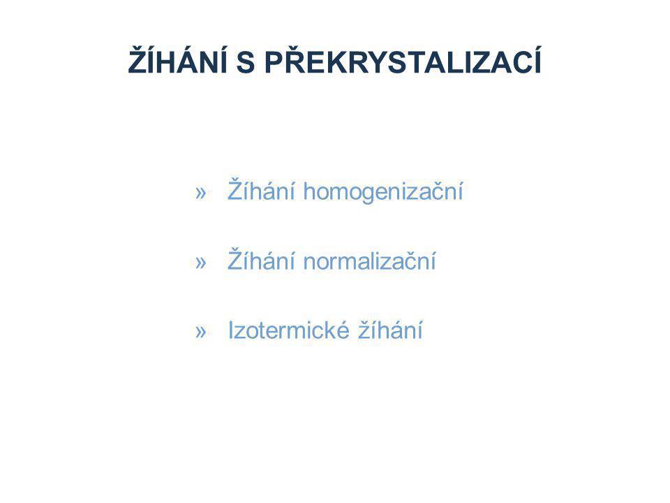 ŽÍHÁNÍ S PŘEKRYSTALIZACÍ »Žíhání homogenizační »Žíhání normalizační »Izotermické žíhání