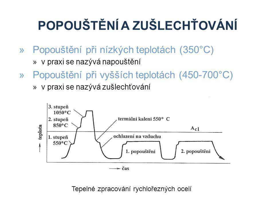 POPOUŠTĚNÍ A ZUŠLECHŤOVÁNÍ »Popouštění při nízkých teplotách (350°C) »v praxi se nazývá napouštění »Popouštění při vyšších teplotách (450-700°C) »v pr