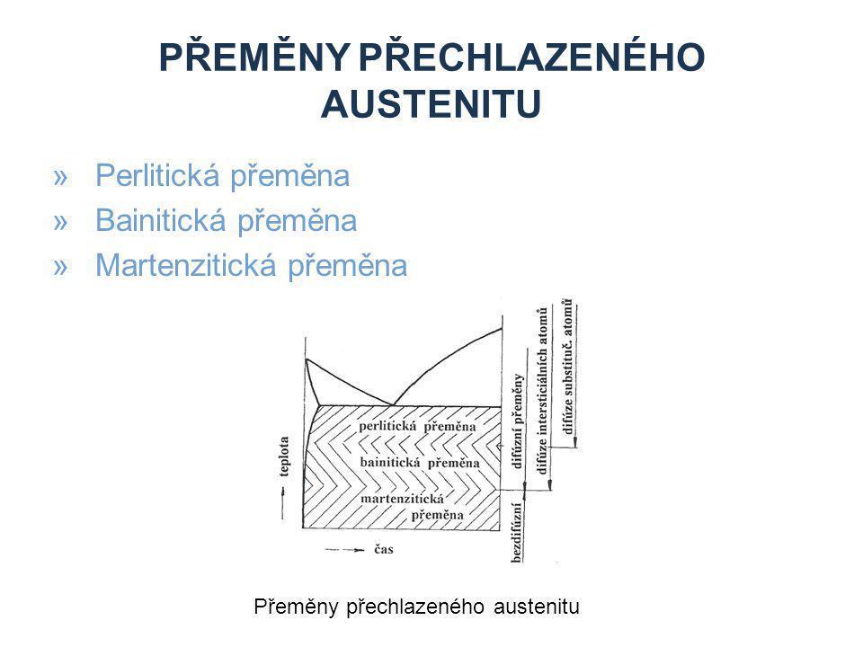 PŘEMĚNY PŘECHLAZENÉHO AUSTENITU »Perlitická přeměna »Bainitická přeměna »Martenzitická přeměna Přeměny přechlazeného austenitu