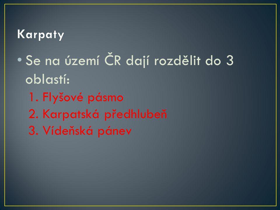 Se na území ČR dají rozdělit do 3 oblastí: 1. Flyšové pásmo 2. Karpatská předhlubeň 3. Vídeňská pánev