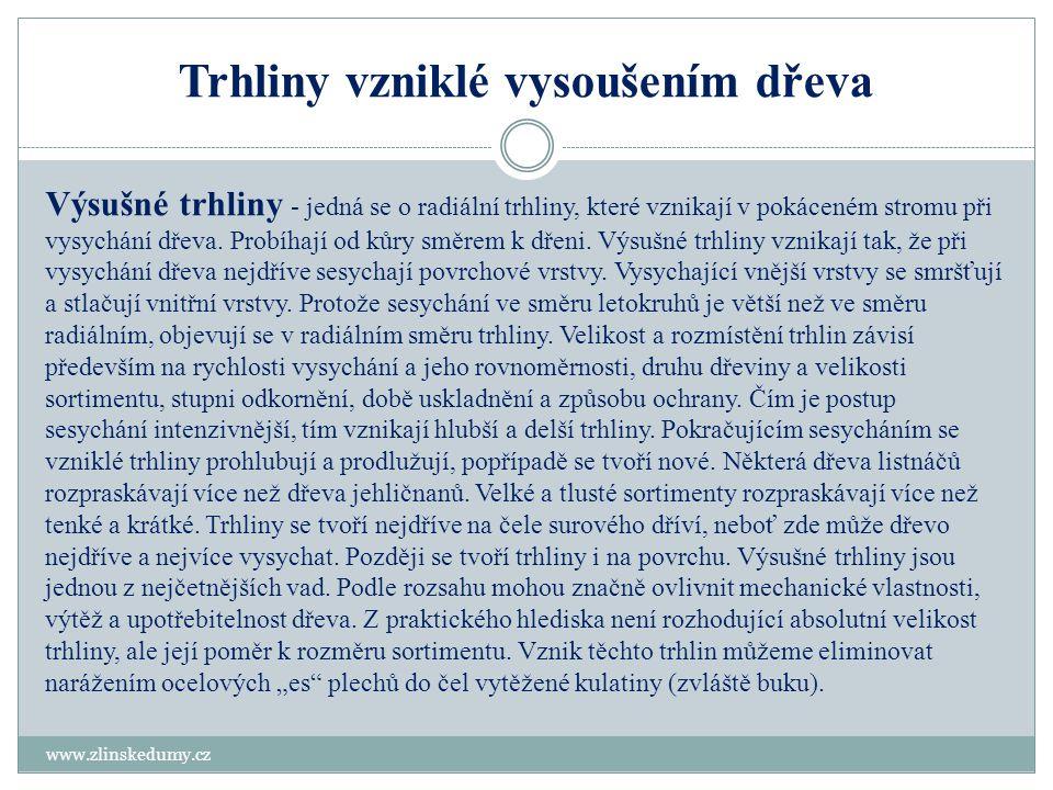 Trhliny vzniklé vysoušením dřeva www.zlinskedumy.cz Výsušné trhliny - jedná se o radiální trhliny, které vznikají v pokáceném stromu při vysychání dře