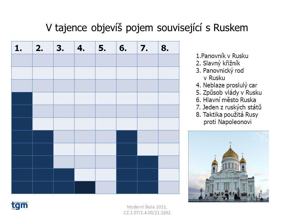 V tajence objevíš pojem související s Ruskem Moderní škola 2011, CZ.1.07/1.4.00/21.1692 1.2.3.4.5.6.7.8.