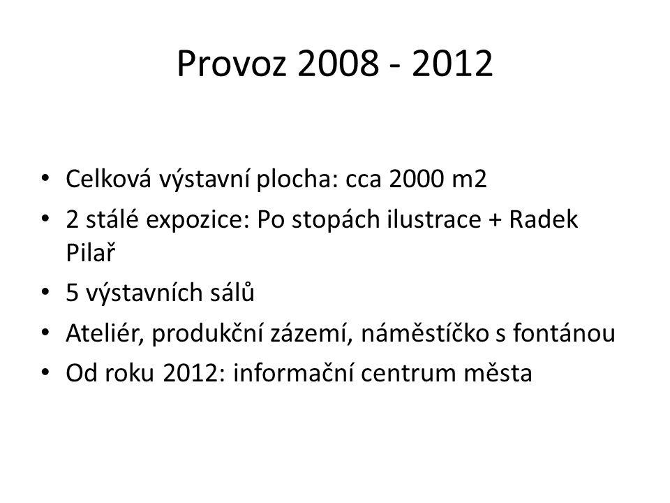 Provoz 2008 - 2012 Celková výstavní plocha: cca 2000 m2 2 stálé expozice: Po stopách ilustrace + Radek Pilař 5 výstavních sálů Ateliér, produkční záze