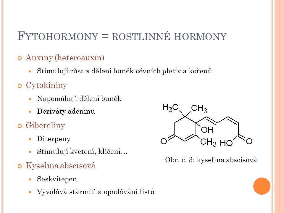 F YTOHORMONY = ROSTLINNÉ HORMONY Auxiny (heteroauxin) Stimulují růst a dělení buněk cévních pletiv a kořenů Cytokininy Napomáhají dělení buněk Derivát