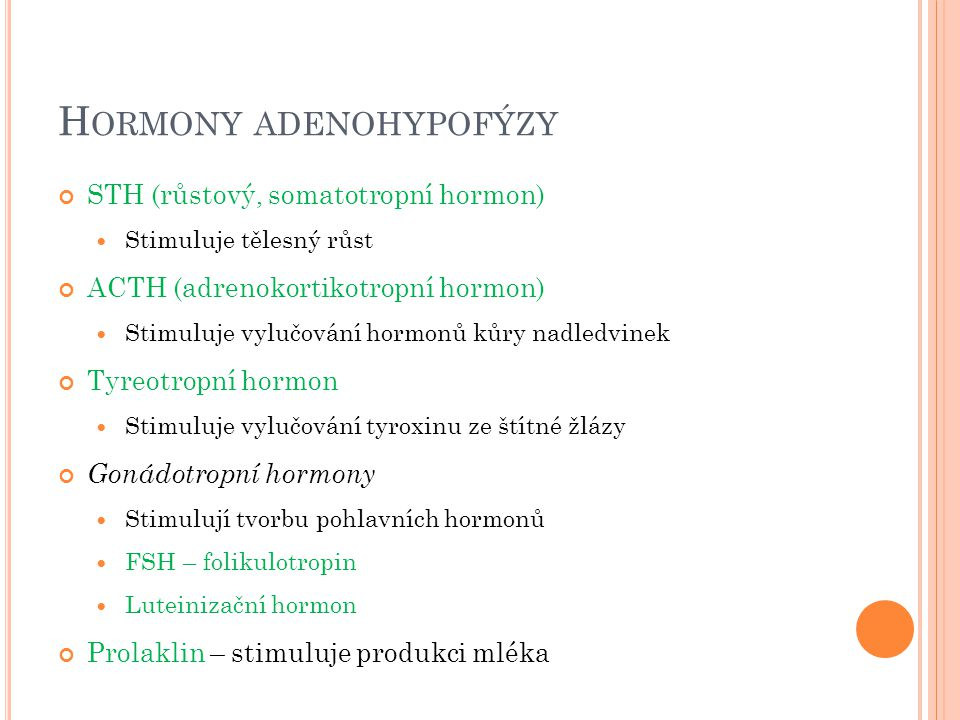 H ORMONY ADENOHYPOFÝZY STH (růstový, somatotropní hormon) Stimuluje tělesný růst ACTH (adrenokortikotropní hormon) Stimuluje vylučování hormonů kůry n
