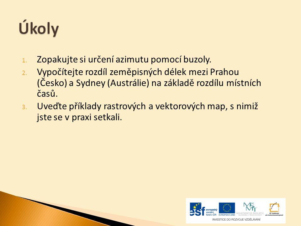 Úkoly 1. Zopakujte si určení azimutu pomocí buzoly. 2. Vypočítejte rozdíl zeměpisných délek mezi Prahou (Česko) a Sydney (Austrálie) na základě rozdíl