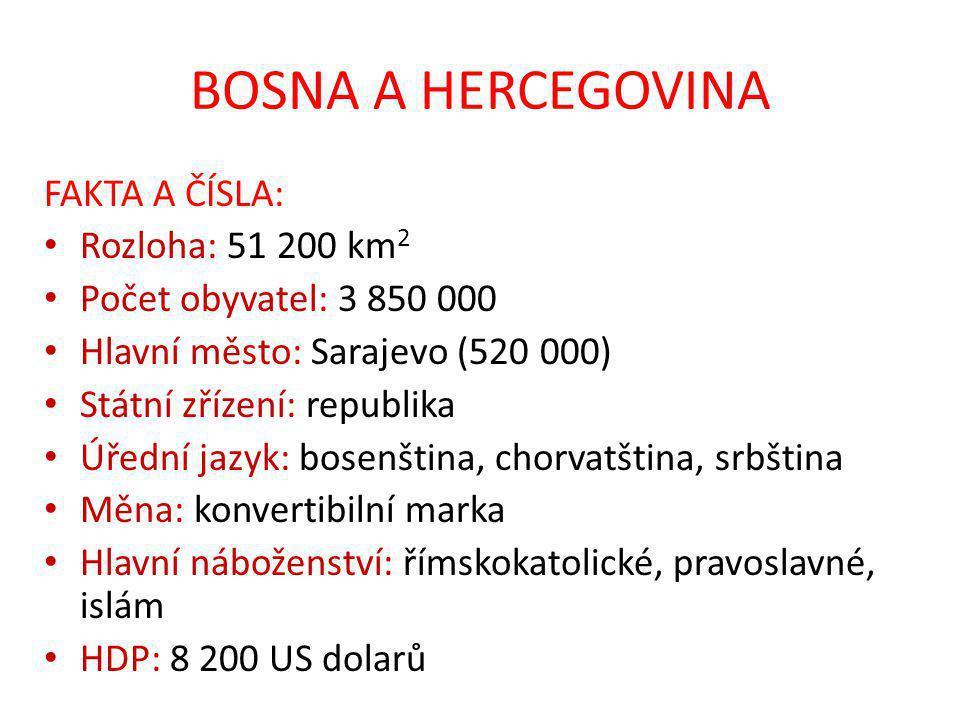 BOSNA A HERCEGOVINA FAKTA A ČÍSLA: Rozloha: 51 200 km 2 Počet obyvatel: 3 850 000 Hlavní město: Sarajevo (520 000) Státní zřízení: republika Úřední jazyk: bosenština, chorvatština, srbština Měna: konvertibilní marka Hlavní náboženství: římskokatolické, pravoslavné, islám HDP: 8 200 US dolarů