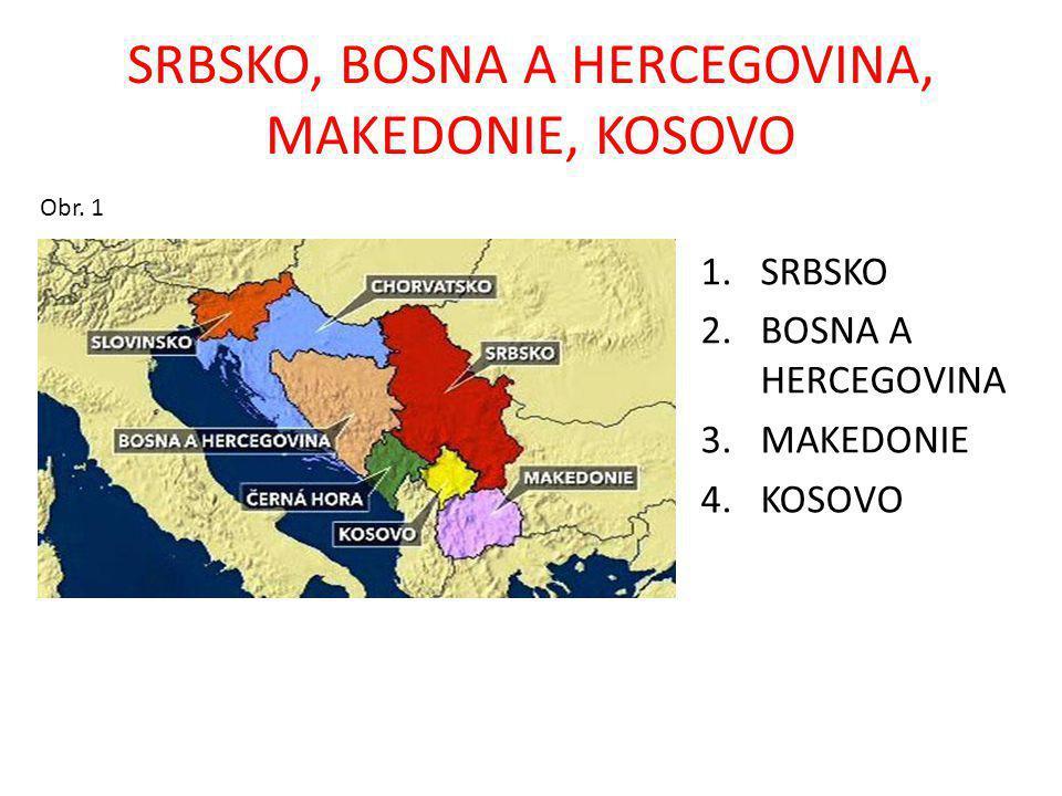 KRAJINA SRBSKA, BOSNY A HERCEGOVINY, MAKEDONIE, KOSOVA STÁTY: Srbsko, Bosna a Hercegovina, Makedonie – vznikly rozpadem Jugoslávie v roce (1991, 1992), Kosovo v roce 2008 vyhlásilo nezávislost nad Srbskem MOŘE: Jaderské POLOOSTROV: Balkánský POVRCH: Dinárské hory ŘEKY: Dunaj, Tisa, Sáva, Velika Morava, Neretva, Vardar JEZERA: Ochridské, Prespanské