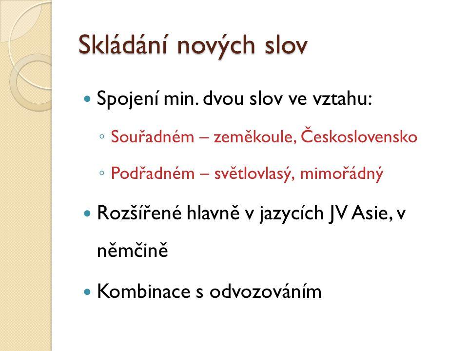 Skládání nových slov Spojení min. dvou slov ve vztahu: ◦ Souřadném – zeměkoule, Československo ◦ Podřadném – světlovlasý, mimořádný Rozšířené hlavně v