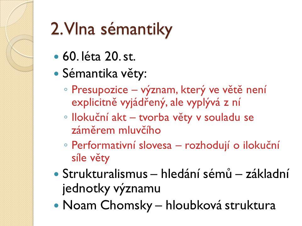 2. Vlna sémantiky 60. léta 20. st. Sémantika věty: ◦ Presupozice – význam, který ve větě není explicitně vyjádřený, ale vyplývá z ní ◦ Ilokuční akt –