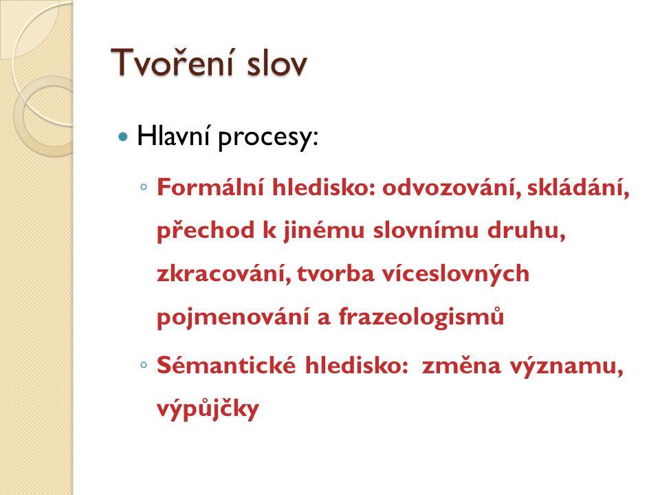 Tvoření slov Hlavní procesy: ◦ Formální hledisko: odvozování, skládání, přechod k jinému slovnímu druhu, zkracování, tvorba víceslovných pojmenování a