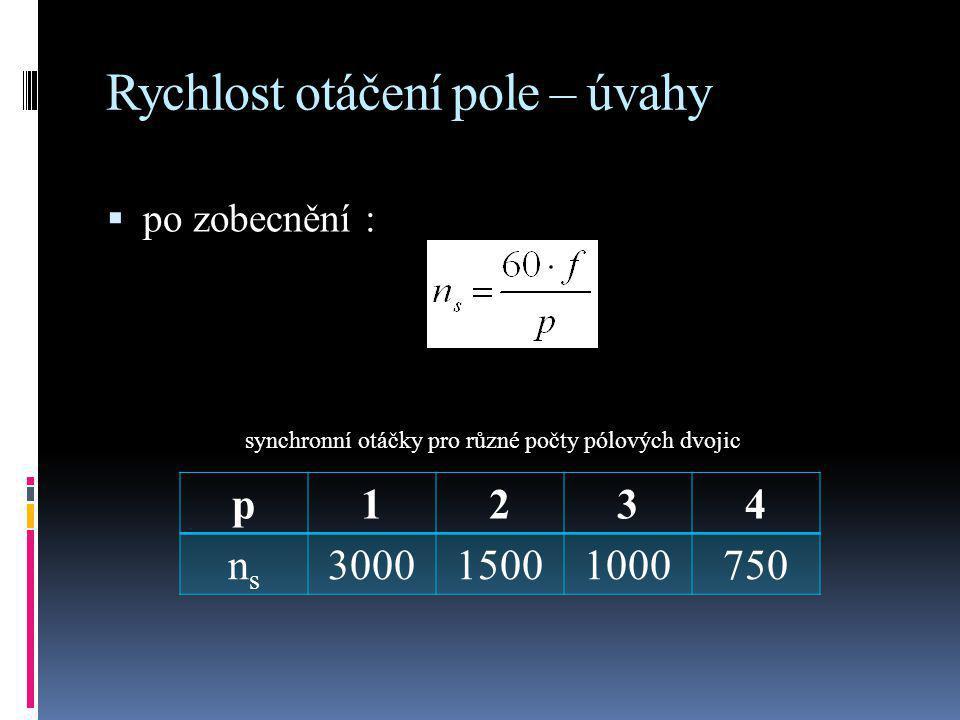 Rychlost otáčení pole – úvahy  po zobecnění : p1234 nsns 300015001000750 synchronní otáčky pro různé počty pólových dvojic