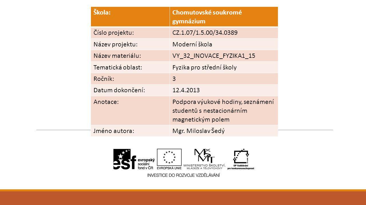 Škola: Chomutovské soukromé gymnázium Číslo projektu:CZ.1.07/1.5.00/34.0389 Název projektu:Moderní škola Název materiálu:VY_32_INOVACE_FYZIKA1_15 Tema