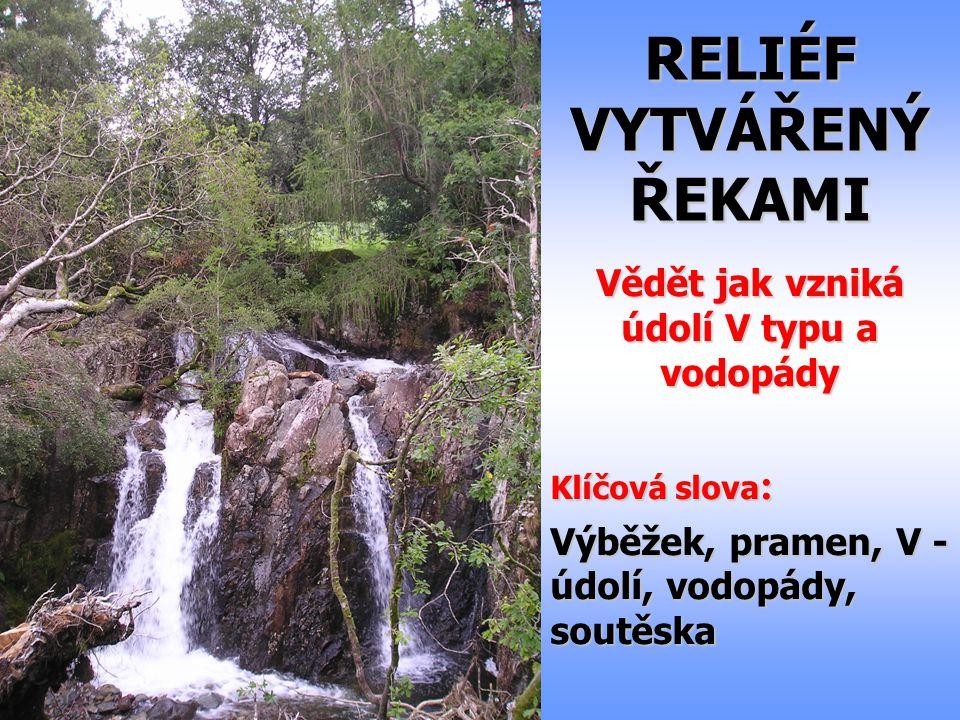 RELIÉF VYTVÁŘENÝ ŘEKAMI Vědět jak vzniká údolí V typu a vodopády Klíčová slova : Výběžek, pramen, V - údolí, vodopády, soutěska