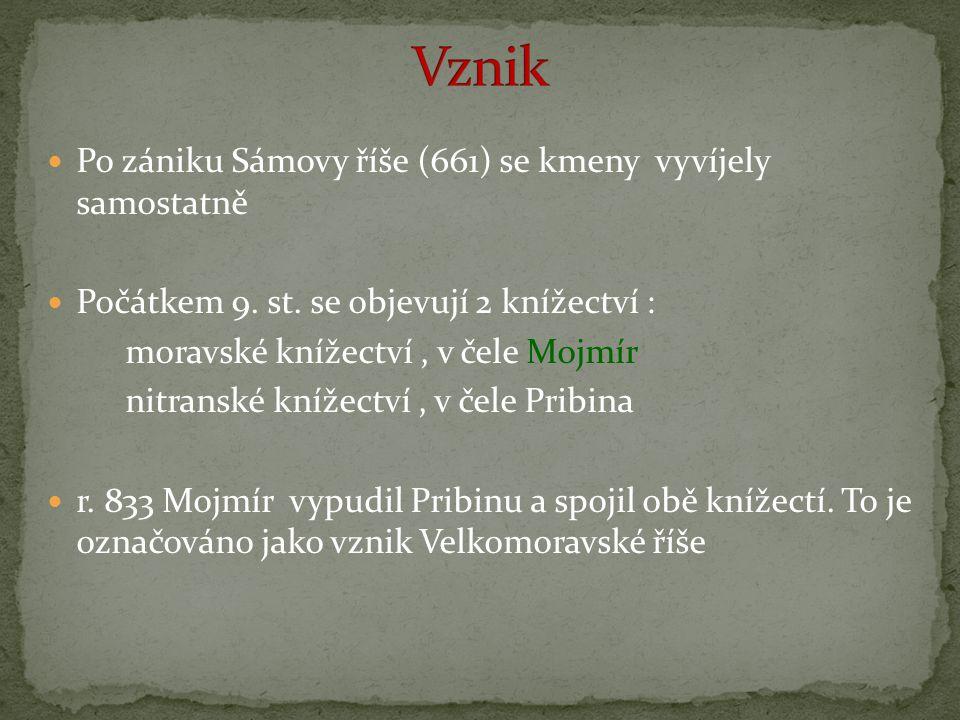 Po zániku Sámovy říše (661) se kmeny vyvíjely samostatně Počátkem 9. st. se objevují 2 knížectví : moravské knížectví, v čele Mojmír nitranské knížect
