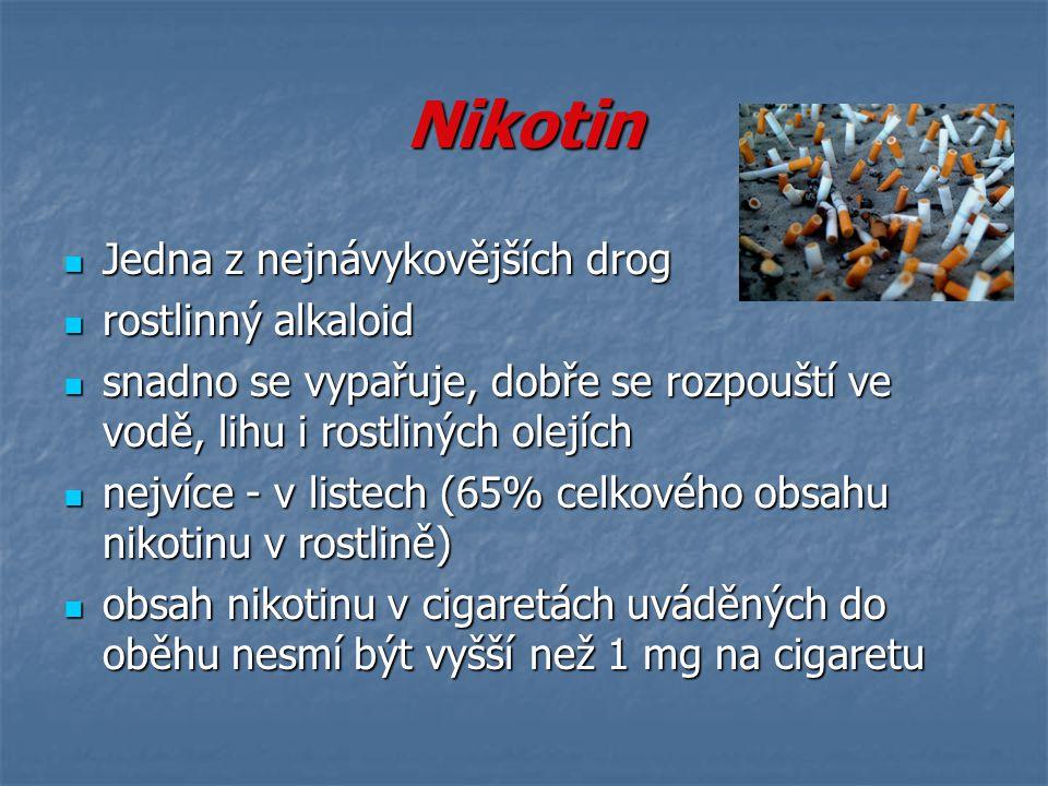 Nikotin Jedna z nejnávykovějších drog Jedna z nejnávykovějších drog rostlinný alkaloid rostlinný alkaloid snadno se vypařuje, dobře se rozpouští ve vo