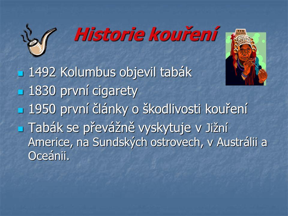 Historie kouření 1492 Kolumbus objevil tabák 1492 Kolumbus objevil tabák 1830 první cigarety 1830 první cigarety 1950 první články o škodlivosti kouře